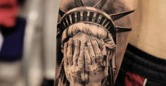 """Illusion: It is challenging to select a small number of tattoos by Miguel Bohigues, because there are so many good ones! His realistic images are essentially monochromatic, but a few may include subtle coloring (e.g. the rose at bottom of post). See also: """"Superbly Realistic Tattoos."""" Photos © Miguel Bohigues. http://illusion.scene360.com/art/45369/who-shot-the-statue-of-liberty/"""