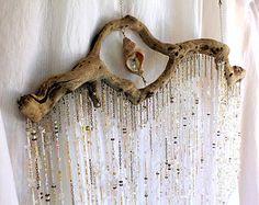 Bohemian Crystal Mobile Curtain Suncatcher Wispy Ethereal Decor