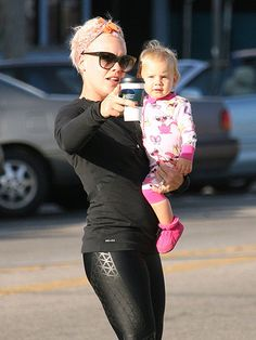 ONE DIRECTION  No tears today! Pink points out the way for her 14-month-old daughter Willow during a Wednesday errand run in Los Angeles.