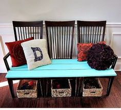 repurpose old kitchen chairs, painted furniture, beautiful new bench for our foyer created from 3 ugly kitchen chairs