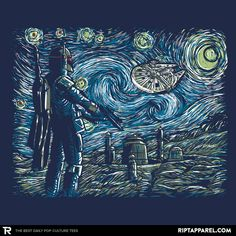 Buy the Star Wars Starry Night t-shirt featuring Boba Fett in a Starry Wars painting. Star Wars Fan Art, Vincent Van Gogh, Arte Van Gogh, Star Wars Painting, Star Wars Wallpaper, Star War 3, Star Wars Humor, Arte Pop, Cultura Pop