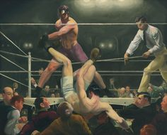 George Bellows (1882–1925). Dempsey and Firpo, (1924). Oil on canvas, 51 1/8 × 63 1/4 in. (129.9 × 160.7 cm). Whitney Museum of American Art, New York; purchase, with funds from Gertrude Vanderbilt Whitney 31.95