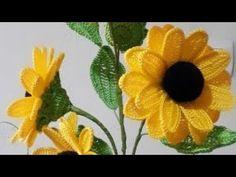 Crochet Sunflower, Crochet Leaves, Sunflower Pattern, Thread Crochet, Crochet Doilies, Knit Crochet, Crochet Flower Tutorial, Crochet Flower Patterns, Crochet Flowers