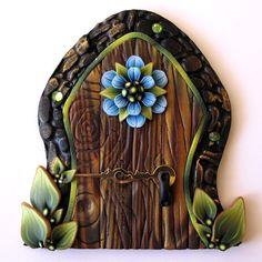 Blue Flower Fairy Door by Claybykim on Etsy