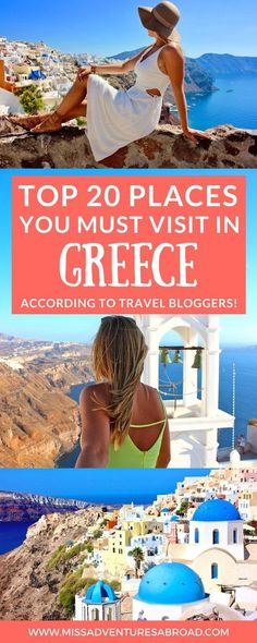 20 Stunning Destinations in Greece Travel Bloggers Love · Planning a trip to Greece but are unsure of where to go? There are so many places to travel to in Greece that it can be difficult to choose! This list includes travel bloggers' top 20 places to visit in Greece! Learn about popular island getaways like Santorini, Mykonos, Crete, Corfu, and Rhodes, as well as mainland destinations like Athens and Thessaloniki. You'll also find plenty of off the beaten trail suggestions! Happy travel