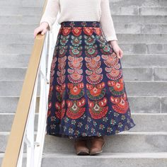 100% Cotton Wrap Around Skirt - Ankle Length