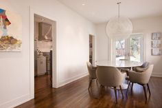 ... Glamorous Baseboard Trim look Austin Contemporary Dining Room Decorating ideas with artwork baseboards ceiling lighting globe