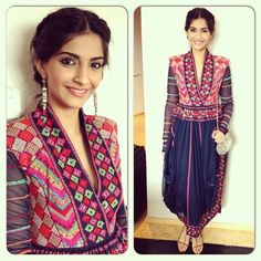 The fashionista Sonam Kapoor was spotted looking gorgeous in various occasions during the promotion of her movie 'Bhaag Milkha Bhaag'. Which look do . Sonam Kapoor, Indian Attire, Indian Ethnic Wear, Ethnic Style, Asian Style, Diva Fashion, Asian Fashion, Fashion Ideas, Ethnic Fashion
