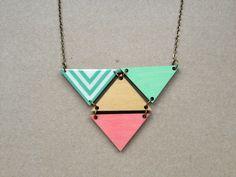 Cheek pinchy Mint chevron Holograms necklace