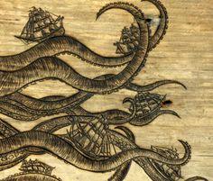 Kraken' Waves (detail) woodburning by Trevor Moody of Dirigo Craft ...