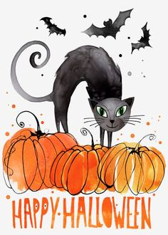 Margaret Berg ~ Happy Halloween art print with black cat. Disney Halloween, Retro Halloween, Halloween Chat Noir, Halloween Images, Halloween 2017, Spooky Halloween, Holidays Halloween, Halloween Themes, Halloween Decorations