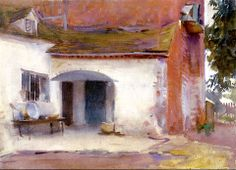 "John Singer Sargent La casa e il cortile ""House and courtyard"" - Metropolitan museum of art,New York - Paintings I Love, Beautiful Paintings, Whistler, John Singer Sargent Watercolors, Alfons Mucha, Sargent Art, Art Nouveau, Virtual Art, Guache"