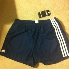 Women's Adidas Stance Athletic Shorts Size L. New! Nwt. Navy Blue & White.Look