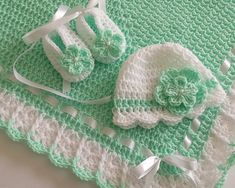 Crochet Baby BlanketHat and Booties Mint Green White Satin