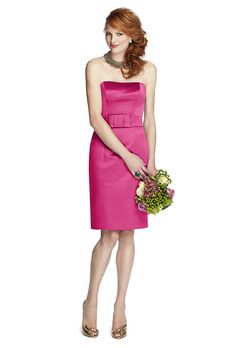 Brides.com: . Style 5700, strapless duchess satin knee-length bridesmaid dress in tutti frutti, $210, 57 Grand available at Weddington Way  See more 57 Grand bridesmaid dresses.