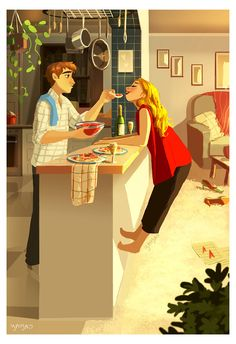 illustration couple yaoyao ma van as Cute Couple Comics, Cute Couple Art, Cartoon Kunst, Cartoon Art, Couple Illustration, Illustration Art, Girl Illustrations, Art Amour, Art Mignon