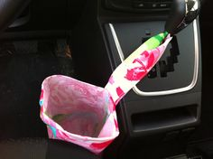 Car trash bag made with Lilly Pulitzer fabric, lined with vinyl by wamozart12 on Etsy https://www.etsy.com/listing/130171975/car-trash-bag-made-with-lilly-pulitzer