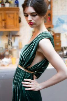 Tilda Green Velvet Assymetrical Long Sleeve Dress  by annapopovich, $455.00
