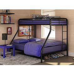 Twin over Full Bunk Beds Metal Bunkbeds Kids Teens Dorm Bedroom Furniture Modern Bunk Beds, Metal Bunk Beds, Full Bunk Beds, Bunk Beds With Stairs, Kids Bunk Beds, Loft Beds, Bed Stairs, Metal Daybed, Child Room