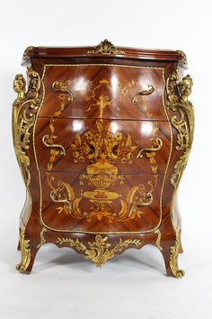 Marquetry bombay 3 drawer Louis XV and Marie by HomeDecorImports