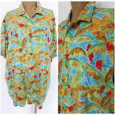 Vintage 80s Jams World Shirt Size XLarge Hawaiian Camp Mens Palm Tree #JamsWorld #Hawaiian