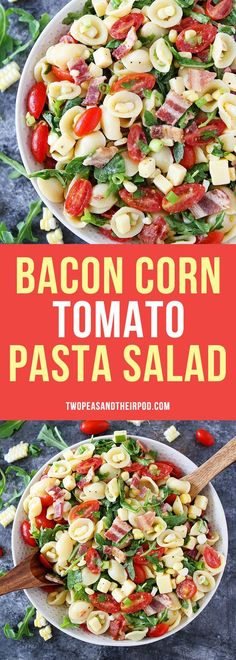Bacon, Corn, and Tomato Pasta Salad with arugula and cheese is the perfect summer pasta salad. It is perfect for picnics, potlucks, BBQ's or everyday dinner! Everyone loves this easy pasta salad! #salad #pasta #dinner