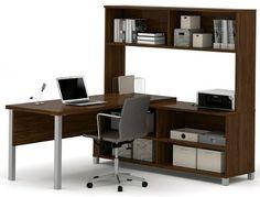 Bestar - Pro-Linea Oak Barrel L-Desk With Hutch - 120862-30