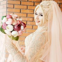 ankara hijab bridal head design fashion center - adel home Wedding Abaya, Wedding Hijab Styles, Muslimah Wedding Dress, Muslim Wedding Dresses, Muslim Brides, Bridal Dresses, Wedding Gowns, Lace Wedding, Bridal Hijab