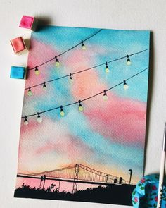 Simple Canvas Paintings, Easy Canvas Art, Small Canvas Art, Cute Paintings, Mini Canvas Art, Watercolor Paintings, Canvas Crafts, Abstract Watercolor, Painting With Watercolors