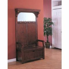 HALL TREE,W/ MIRROR, STORAGE BENCH by Coaster Home Furnishings. $504.99. Storage Space. Padded Cushion Seat. Mirror. 3977 Features: -Materials: Wood.-With storage bench and mirror.