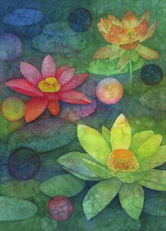 """Contemporary Painting - """"Lotus Blossoms"""" (Original Art from Marcy Lansman)"""
