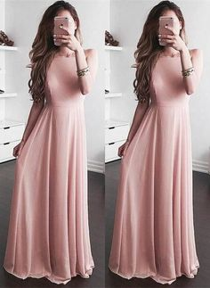 High Quality New Arrival A-Line Round Neck Black Lace Long Prom Dress 50041 #promdress# pinkdress#