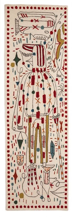A primera vista, una maraña caótica de colores y formas invade la alfombra. Sin embargo, al observar atentamente descubriremos el imaginario de Jaime Hayon: tortugas, labios manos, taburetes, peces, hombre-pájaro…
