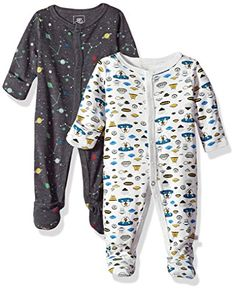 Rosie Pope Baby Boys Coveralls 2 Pack, Spaceship, 0-3 Mon...
