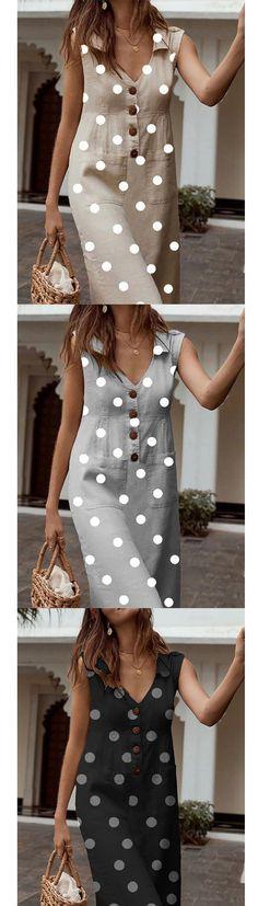 Polka Dot V Neck Sleeveless Buttons Pockets A-line Plus Size Midi Dress Polka Dot V-Ausschnitt Ärmel Day Dresses, Casual Dresses, Casual Outfits, Summer Dresses, Belted Shirt Dress, The Dress, Mode Chic, Dress Sewing Patterns, Mode Outfits