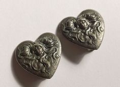 ANTIQUE REPOUSSÉ HIGH RELIEF STERLING SILVER MAIDEN CLIP ON EARRINGS #Handmade #Huggie