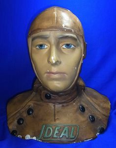 Antique German Plaster Display Head Biker / Pilot SHOP WINDOW Mannequin #<2