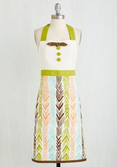 Of Hearth and Home Apron. When the house is full of rumbling tummies, don this charming chartreuse apron for an afternoon of blissful baking! #multi #modcloth