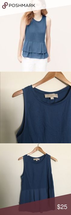 LOFT Mixed Media Peplum Flowy and feminine top by LOFT. Cotton/Polyester blend. Great condition! LOFT Tops Blouses