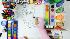 Cat drawing and painting - Coloring Pages for Kids - Educational for Kid...