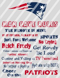 New England Patriots Man Cave Rules Wall Decor Sign (digital or photo print)