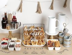 Having a morning wedding! Considering having a wedding brunch! Just want a waffle bar! Mothers Day Breakfast, Mothers Day Brunch, Brunch Bar, Brunch Ideas, Breakfast Ideas, Waffle Bar, Easy Handmade Gifts, Easy Gifts, Vegetarian