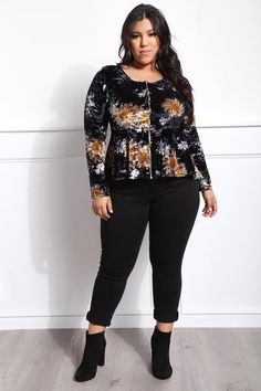dbfef787cc2b5 Plus Size Fashion · Embody sophistication and show off your vixen side in  this FLORAL PEPLUM STYLE FRONT ZIPPER JAC
