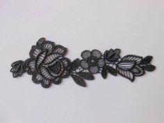 Applique en dentelle noire de 165 x 55 cm