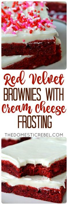 These Red Velvet Brownies with Cream Cheese Frosting are incredible! Soft, chewy, fudgy brownies flavored with red velvet and topped with a luscious cream cheese frosting!