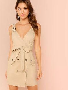 Adjustable Strap Pocket Side Belted Dress -SheIn(Sheinside)