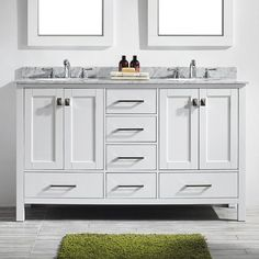 Update your master bathroom with the Eviva Aberdeen 60 in. This large, double-sink vanity set features solid wood cabinets. Bathroom, Vanity, Double Sink Vanity, Small Bathroom, Double Vanity Bathroom, Marble Vanity Tops, Vanity Combos, White Vanity Bathroom, Vanity Sink