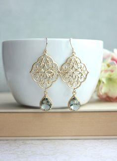 Grey Art Deco Earrings GypsyFiligree Earrings Ornate by Marolsha Black Earrings, Gold Drop Earrings, Chandelier Earrings, Filigree Earrings, Diamond Earrings, Jewelry Accessories, Fashion Accessories, Fashion Jewelry, Unique Jewelry