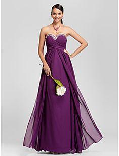 Ίσια Γραμμή Στράπλες Καρδιά Μακρύ Σιφόν Φόρεμα Παρανύμφων με Χάντρες Που καλύπτει Χιαστί με LAN TING BRIDE®