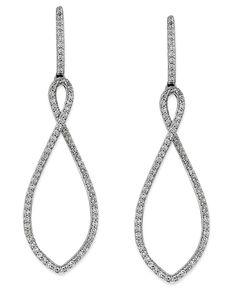 Wrapped in Love Diamond Twisted Teardrop Earrings in 14k White Gold (3/4 ct. t.w.)